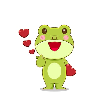 Frog character posing finger love isolated