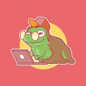 Frog character tech master vector illustration animal brand technology design concept