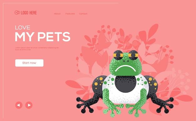 개구리 개념 전단지, 웹 배너, ui 헤더, 사이트 입력 애완 동물 상점의 웹 페이지. .