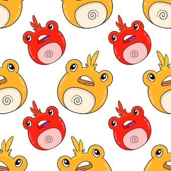 Лягушка милые животные бесшовные модели текстильной печати. отлично подходит для летней винтажной ткани, скрапбукинга, обоев, подарочной упаковки. повторять узор фона дизайн