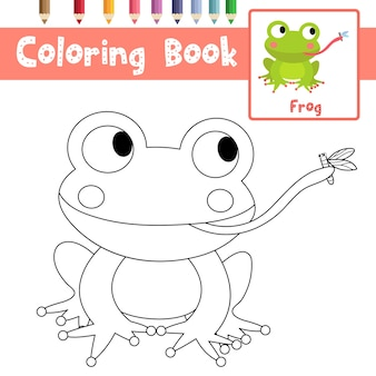 Frog eating fly coloring page