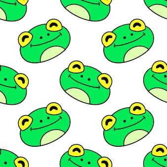 Frog head pattern seamless textile print. great for summer vintage fabric, scrapbooking, wallpaper, giftwrap. repeat pattern background design