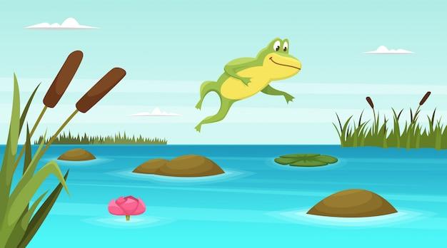 연못에서 점프하는 개구리