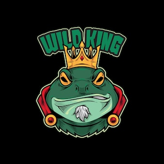Frog king mascot logo vector illustration