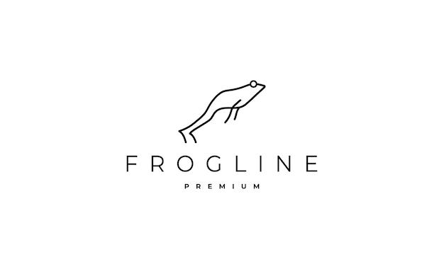 カエルのラインの最小限のロゴのベクトルのデザイン