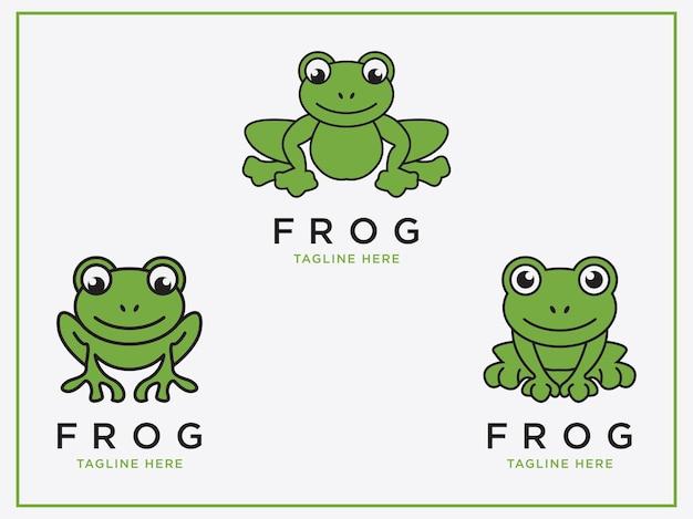 カエルのロゴセットアイコンデザインテンプレートフラットベクトル