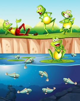 연못에 개구리