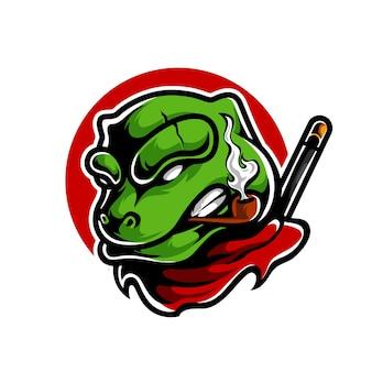 Дизайн логотипа талисмана лягушки ниндзя