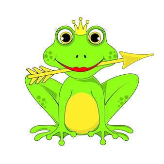 Frog princess crown with arrow on white background in vector eps 10.