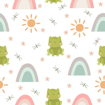 Frog and rainbow pattern