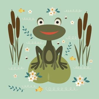Frog retro illustration