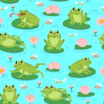 Бесшовный узор из лягушки. повторяя милые лягушки и водные растения, дизайн детского душа, печать открыток или обои текстильная мультяшная векторная текстура. листья и цветы лилии, ловля летающих насекомых