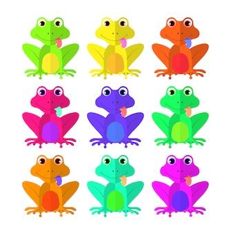 Frog set of flat style on white background