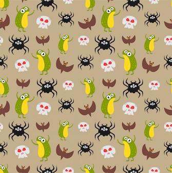 Frog, skull, spider, bat pattern
