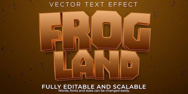 Текстовый эффект лягушки, редактируемый мультфильм и забавный стиль текста