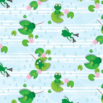 Frog vector seamless pattern