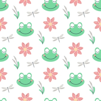 Frog with flowers seamless pattern