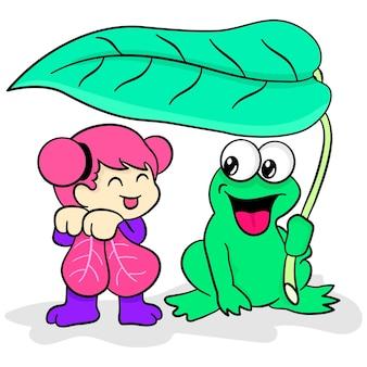 Лягушки и феи укрываются у листа. мультфильм иллюстрация милый стикер