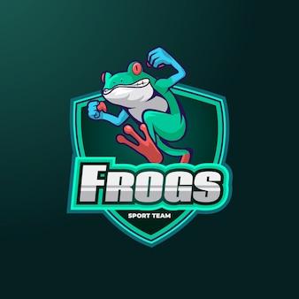 カエルのマスコットロゴ