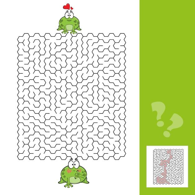 Игра в лабиринт с лягушками - помогите лягушке сориентироваться - вектор