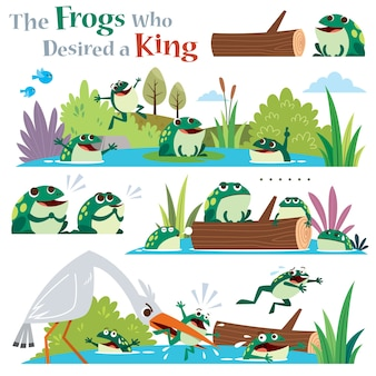The frogs who desired a king isolated on white
