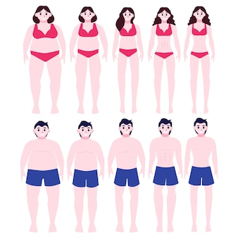 From fat to fit concept. woman and man with obesity lose weight.