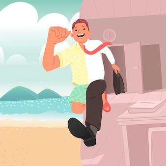 С работы и в отпуске офисный работник убегает с работы на отдых в теплые страны на море