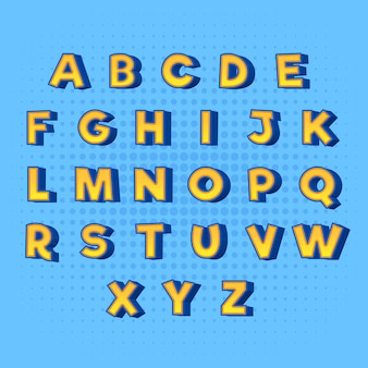 From a to z 3d comic alphabet in yellow with blue shadows