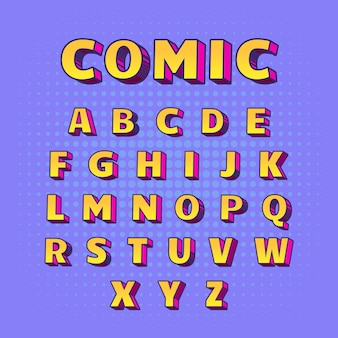 From a to z 3d comic alphabet in yellow with pink shadows