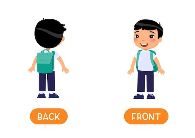 Frontおよびback反意語ワードカード