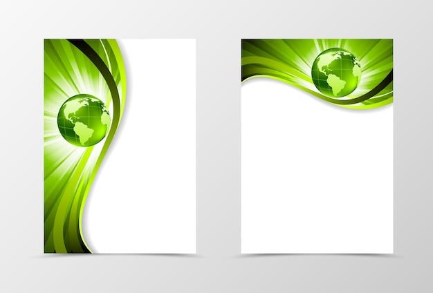フロントとバックのダイナミックウェーブフライヤーテンプレートデザイン。光沢のあるスタイルの緑の線と地球儀の抽象的なテンプレート。