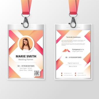 사진이있는 앞면과 뒷면 id 카드