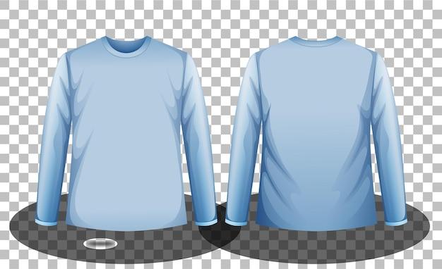 Передняя и задняя часть синей футболки с длинными рукавами на прозрачном фоне