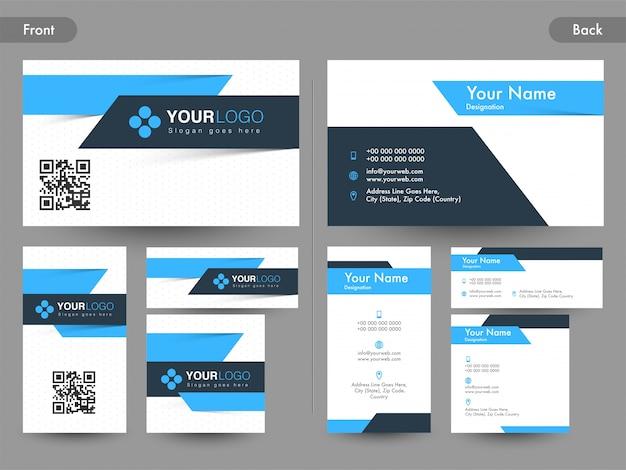 Вид спереди и сзади страницы абстрактной горизонтальной и вертикальной визитной карточки, карты имен или визитной карточки.