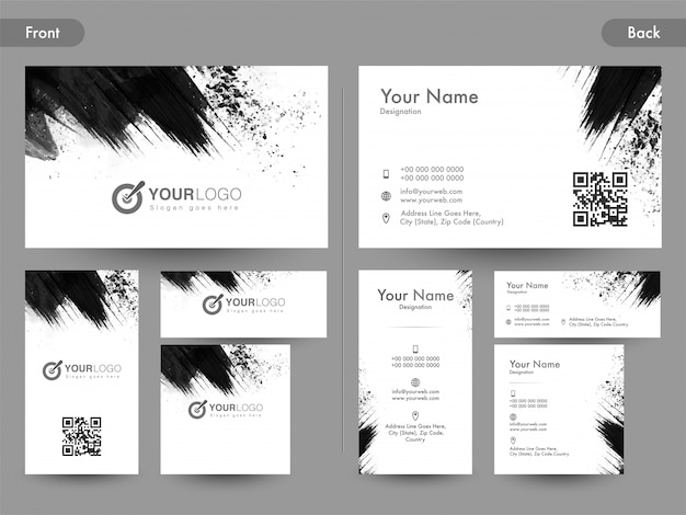 Вид спереди и сзади страницы горизонтальной и вертикальной визитной карточки, карты имени или визитной карточки с черными абстрактными мазками кисти. Бесплатные векторы