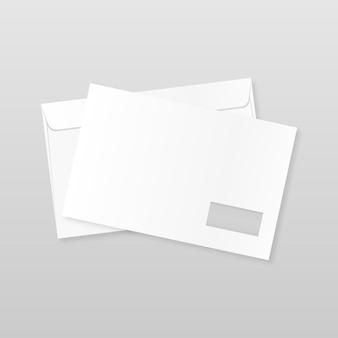 Передняя и задняя сторона конверта макет реалистичного пустого письма шаблон бумаги c4 белые конверты