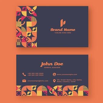 Передняя и задняя сторона макета шаблона визитной карточки с геометрическим рисунком.