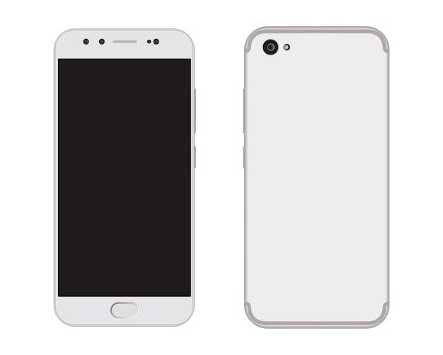 スマートフォンのモダンなタッチスクリーンの前面と背面