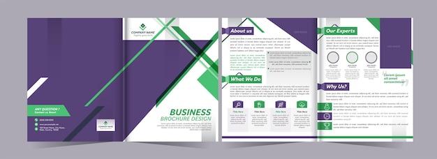 二つ折りビジネスパンフレットテンプレートの正面図と背面図