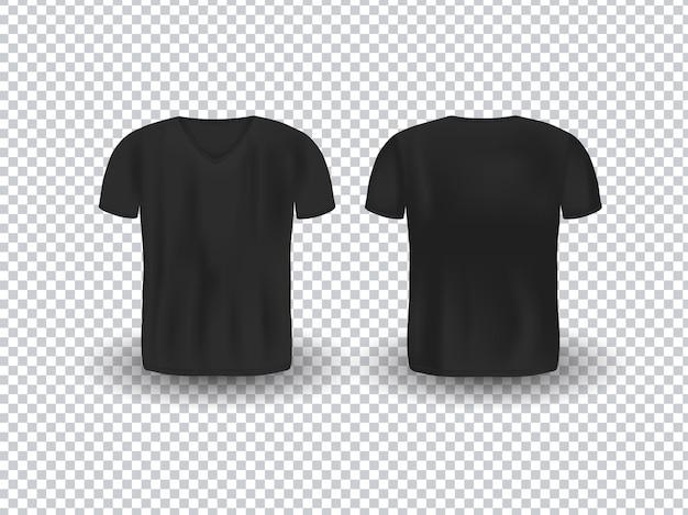 Вид спереди и сзади реалистичного макета футболки с v-образным вырезом на прозрачном фоне.