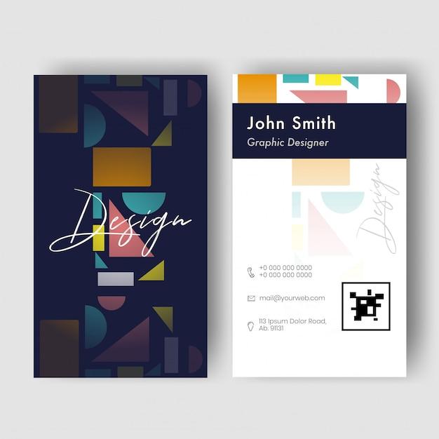 Вид спереди и сзади вертикальной визитки с геометрическими элементами