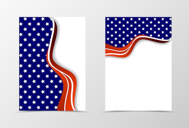 フロントとバックの波のチラシテンプレートのデザイン。白い星と赤い線で青い色の抽象的なテンプレート。