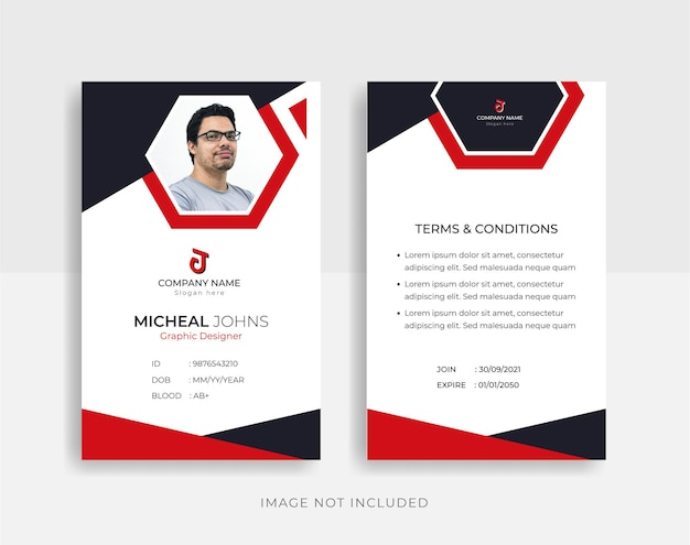 Front and back abstract id cards template