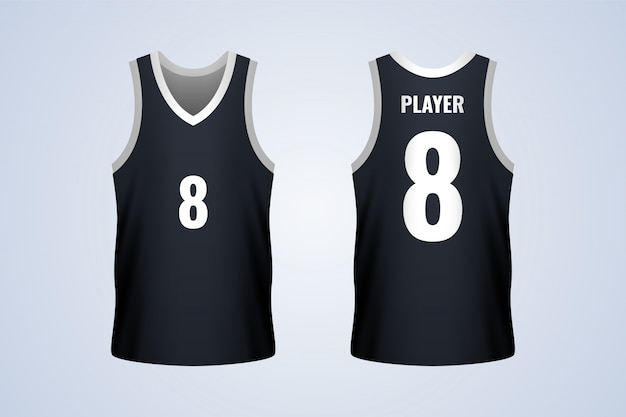 Front and back black basketball jersey template