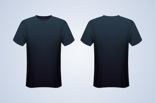 Front and back black t-shirt mockup