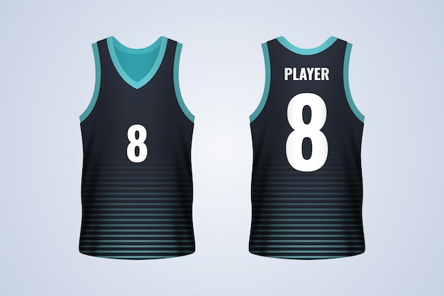 Front and back black with blue strips basketball jersey template
