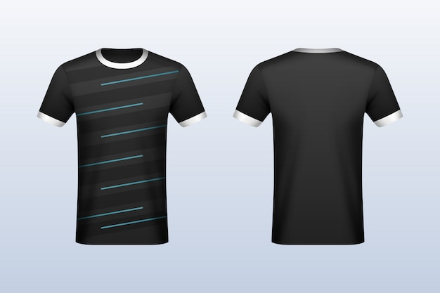 Front and back black with blue strips jersey mockup