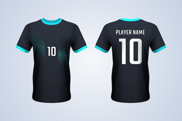Front and back black with blue strips jersey template