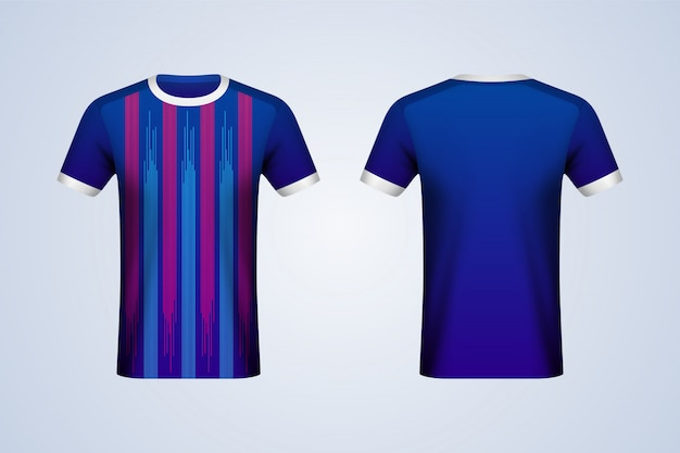 Front and back blue and red strips jersey mockup