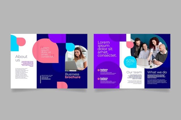 Front and back business team trifold brochure